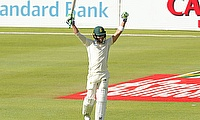 South Africa's Faf du Plessis celebrates his century