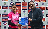 Mr.Shravan Jajodia,(Member of the Committee of Management,J.S.C.A.),presented the Player of the Match award to Indrani Roy for scoring 64 runs.