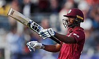 West Indies' Nicholas Pooran celebrates a century