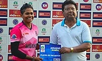 Indrani Roy (Bokaro Blossoms) Player of the Match Award recieved from Mr.Subrata Das