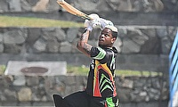 Guyana Jaguars Shimron Hetmyer hits a six over cover