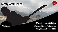 Fantasy Cricket Predictions and Betting Tips: Maharashtra vs Puducherry, Round 5, Elite Group D