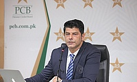 Chief Selector Muhammad Wasim addresses the media at the PCB headquarters in Lahore