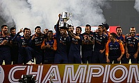 India celebrate winning the series with the trophy