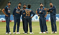 India players wait for the umpire's decision