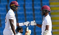 Jason Holder and Kraigg Brathwaite during their partnership.