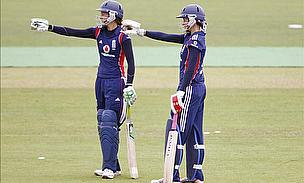 Caroline (right) batting with Sarah Taylor