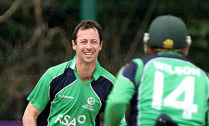 Alex Cusack celebrates a wicket