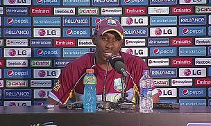 Dwayne Bravo talks to the media following the West Indies' victory over Pakistan