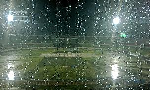 The view of a sodden pitch in Mirpur where the first ICC World Twenty20 semi-final was ended prematurely