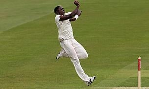 Jerome Taylor prepares to bowl