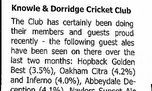 Knowle & Dorridge CC & Fine Ale