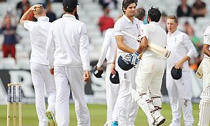 Handshakes at the end of the first Test between England and India at Trent Bridge