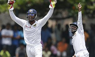 Dinesh Chandimal appeals for a wicket