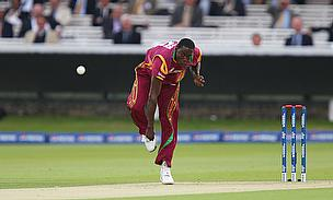 Jerome Taylor bowls for the West Indies