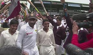 Mahela Jayawardene exits the field after retiring from Test cricket