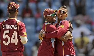 Sunil Narine (right) took two wickets in two balls to hasten Bangladesh's demise