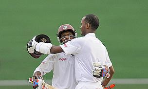Kraigg Brathwaite (right) and Shivnarine Chanderpaul batted through day two of the first Test against Bangladesh