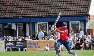 Alastair Cook hits out during his innings at Upminster CC