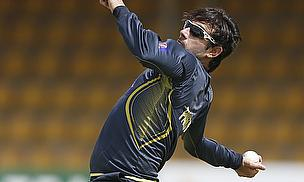Saeed Ajmal bowls in a training session