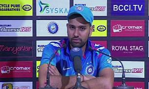Rohit Sharma talks to the press following his innings of 264 against Sri Lanka