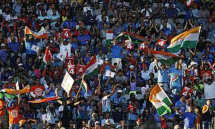 India fans cheer on their team