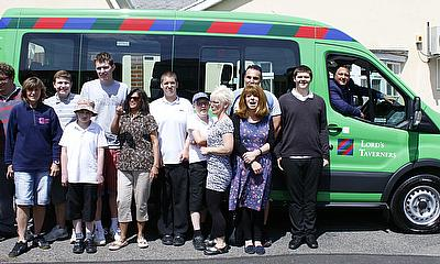 Darren Gough delivers a Lord's Taverners minibus to Doucecroft School