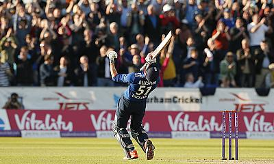 Jonny Bairstow celebrates England's win in the fifth and final ODI