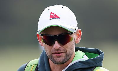 Nathan Lyon during nets in Northwood.