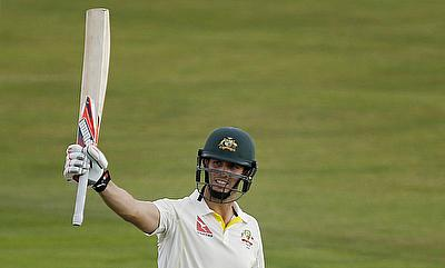 Mitchell Marsh celebrating his century against Essex on day one of the tour game in Chelmsford.
