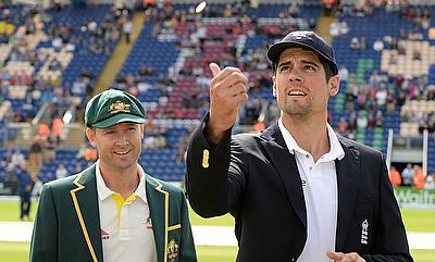 Alastair Cook and Michael Clarke at the toss for the first Ashes Test in Cardiff