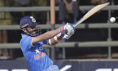 Ajinkya Rahane hits out during India's win over Zimbabwe in the second ODI