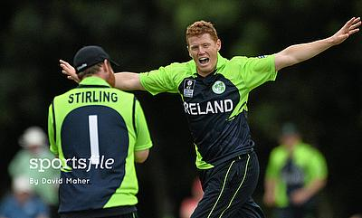 Kevin O' Brien celebrating a wicket as Ireland thrashed Nepal by eight wickets in Belfast.