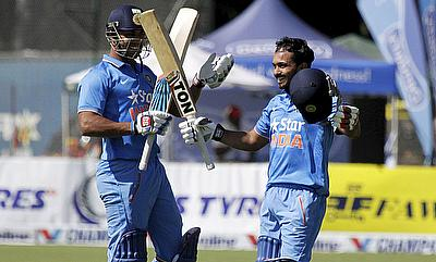 Kedar Jadhav celebrating his maiden century as India defeated Zimbabwe by 83 runs in the third ODI in Harare.