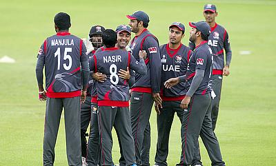 UAE players celebrating a wicket during the encounter against Canada in Stirling.