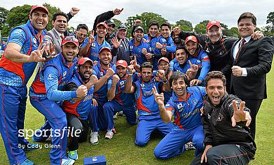 Afghanistan players celebrating the win over Papua New Guinea.