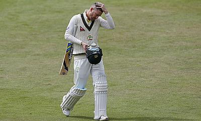 Michael Clarke reacts after being dismissed in the tour game against Derbyshire.
