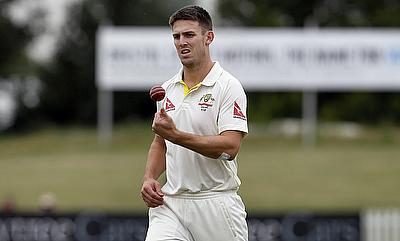Mitchell Marsh registered figures of 4-41 on day three of the tour game between Australia and Derbyshire in Derby.