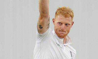 Ben Stokes celebrating his five-wicket haul against Australia at Trent Bridge.