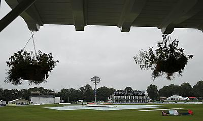 The scene at Canterbury, where play was delayed on day two of the Women's Ashes Test