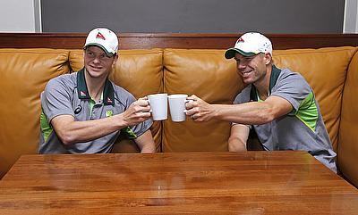 Steve Smith (left) and David Warner (right) posing for a photo after being announced as new Australian Test captain and vice-captain respectively.