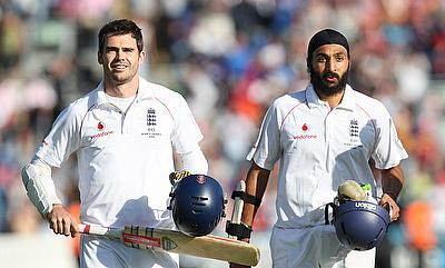 Monty Panesar (right) with James Anderson after saving the 2009 Cardiff Ashes Test
