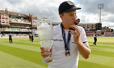 Joe Root celebrates after winning the Ashes