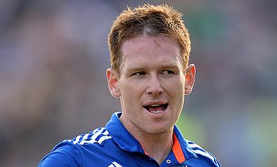 Eoin Morgan reacts after getting dismissed in the fourth ODI against Australia at Headingley.