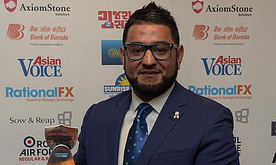 Moeen Ali was unable to attend due to England duties so his manager Kamran Khan picked up the award on his behalf