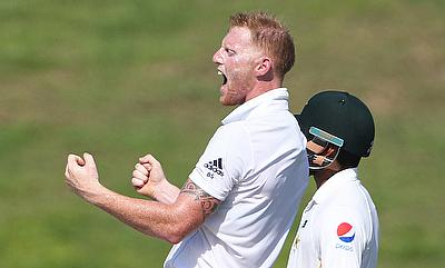 Ben Stokes celebrates after dismissing Mohammad Hafeez on day one of the first Test in Abu Dhabi.