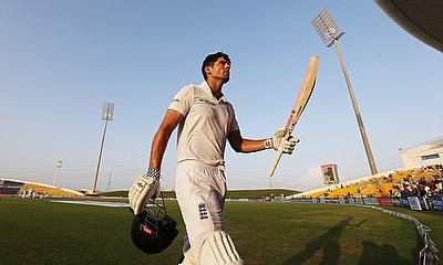 Alastair Cook acknowledges applause after being dismissed for 263 on day four in Abu Dhabi