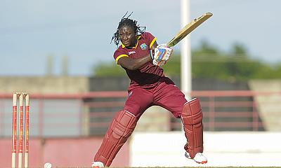 Stafanie Taylor cuts during her innings of 98 not out
