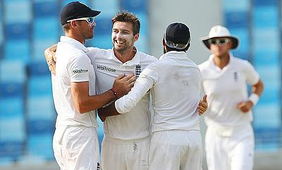 Mark Wood (centre) celebrating the wicket of Younis Khan in the second Test in Dubai.