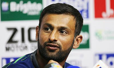 Shoaib Malik announcing his retirement in a press conference in Sharjah.